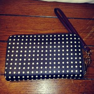 Fossil Black and White Polka Dot leather wallet